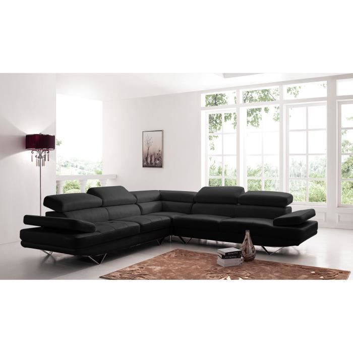 Canap d angle design en cuir coloris noir pieds chrom s achat vente cana - Canape d angle de qualite ...