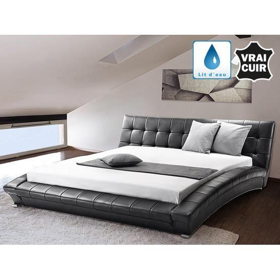lit eau lit en cuir 160x200 cm noir lille achat. Black Bedroom Furniture Sets. Home Design Ideas