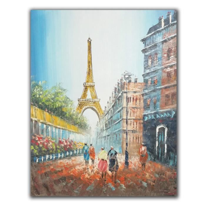 peinture sur toile tour eiffel couleurs handmade painting of the eiffel tower achat vente. Black Bedroom Furniture Sets. Home Design Ideas