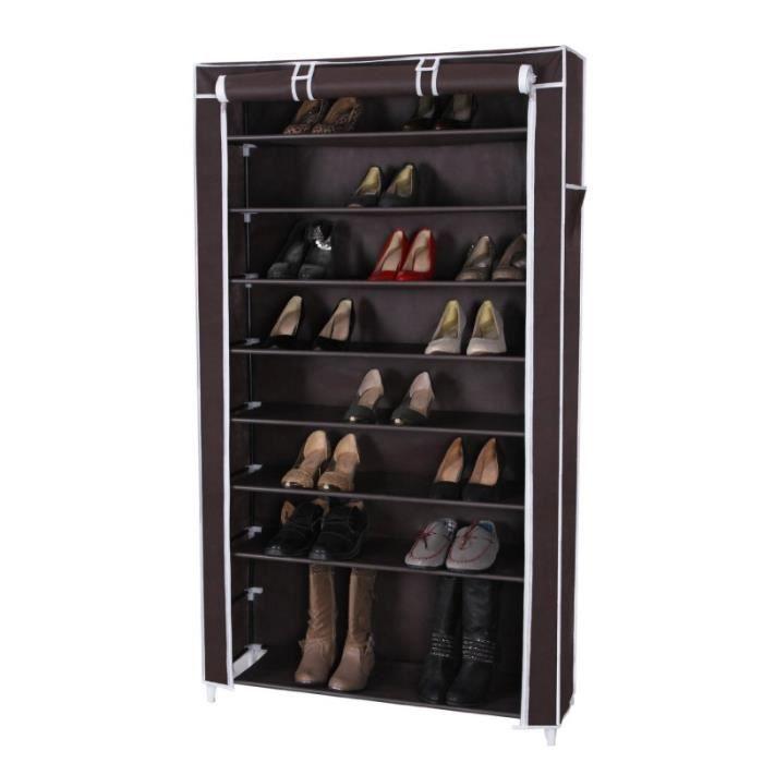 Armoires penderie tissu meuble de rangement chaussure marron fonc 160 cm 201 - Cdiscount armoire penderie ...