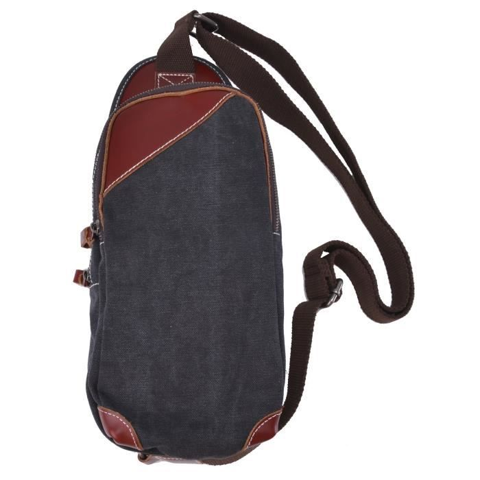 Gootium 40678 sacoche en toile et cuir noir achat vente sacoche 2009925496330 cdiscount - Verlicht en cuir noir ...