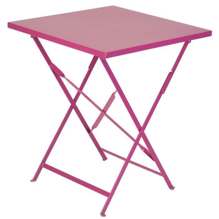 Table de jardin en m tal rose 60x60x72cm achat vente table de jardin tabl - Table de jardin en metal ...