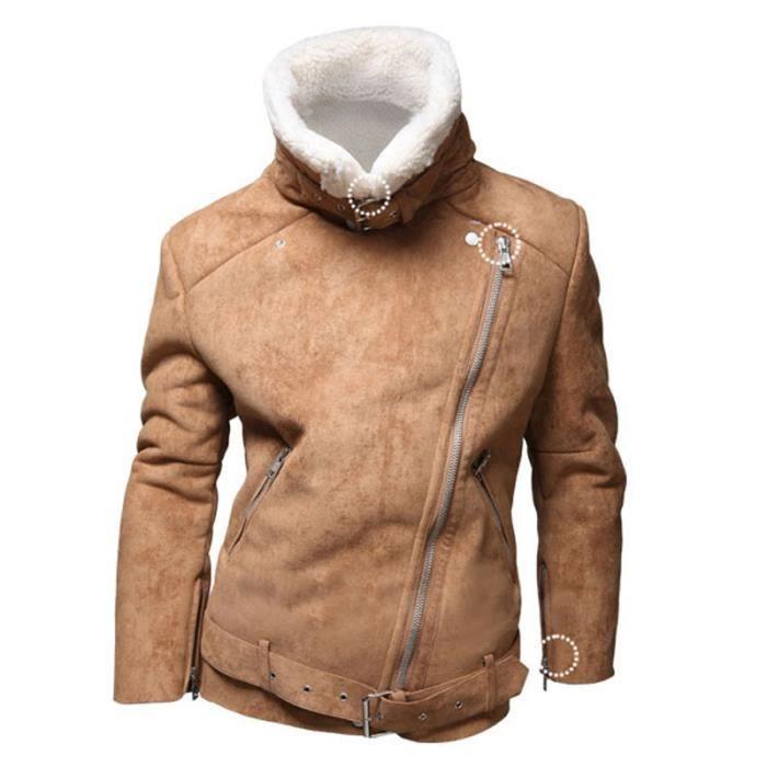blouson homme agneaux veste de laine homme bomb brun achat vente blouson les soldes. Black Bedroom Furniture Sets. Home Design Ideas