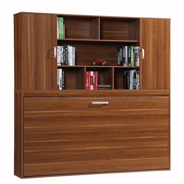 armoire lit escamotable fast biblioth que 90x200cm achat vente lit escamotable armoire lit. Black Bedroom Furniture Sets. Home Design Ideas
