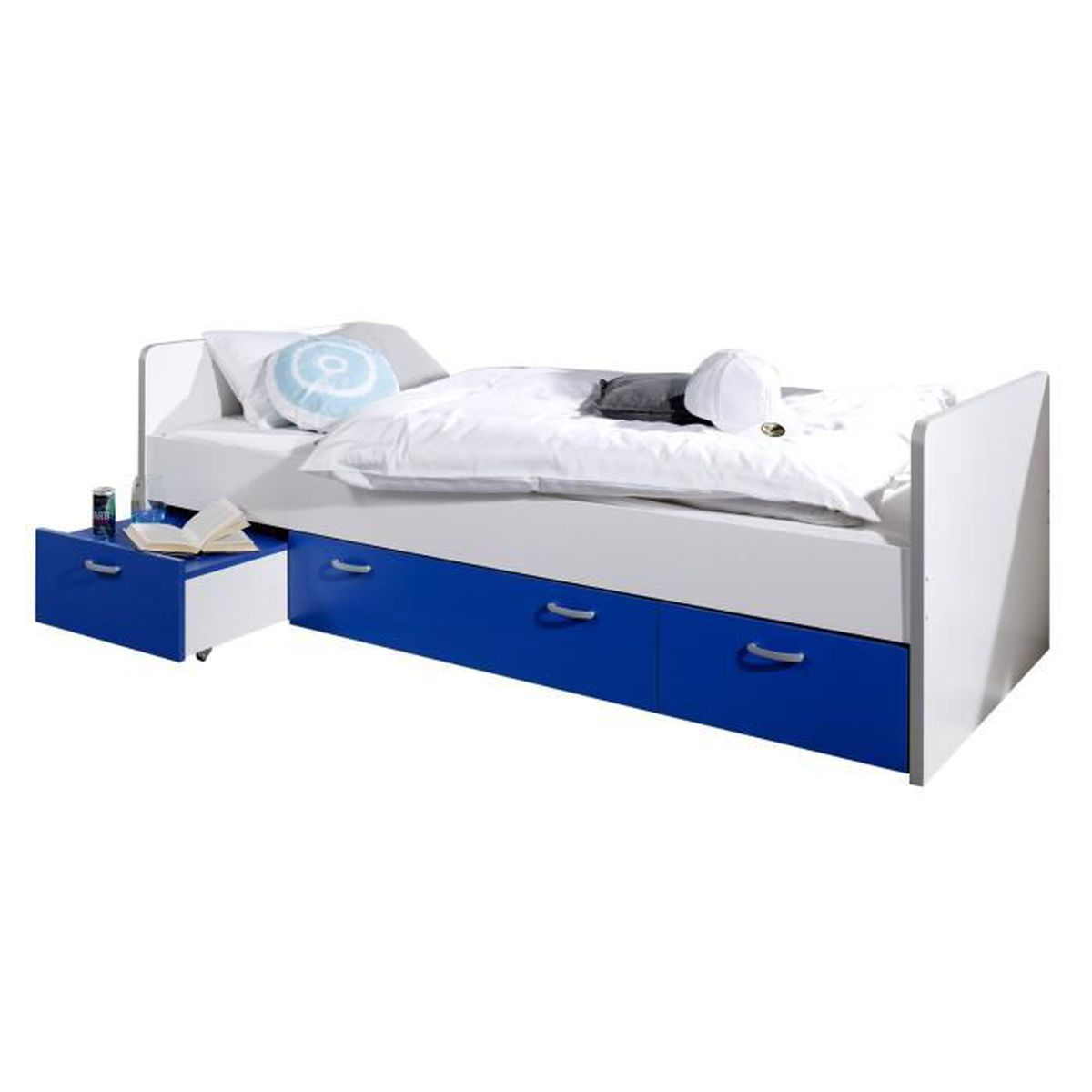 Lit combin 90x200 cm avec 2 tiroirs et une table chevet coloris blanc et bleu blanc achat for Lit et table de chevet