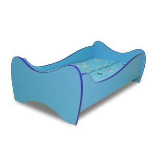 lit enfant bleu sommier matelas 140x70 cm achat vente lit complet lit pour enfant cdiscount. Black Bedroom Furniture Sets. Home Design Ideas