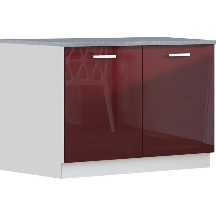 Meuble bas ultra moderne 100 cm avec 2 portes coloris for Element de cuisine haut et bas