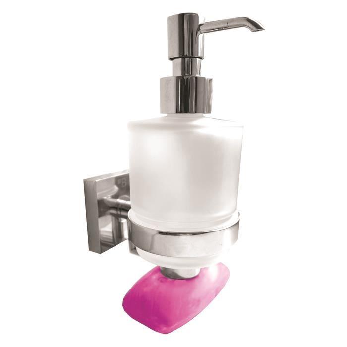 Distributeur de savon liquide porte savon magn tique en verre beta 7 5x16x10cm 200ml achat for Porte savon en verre