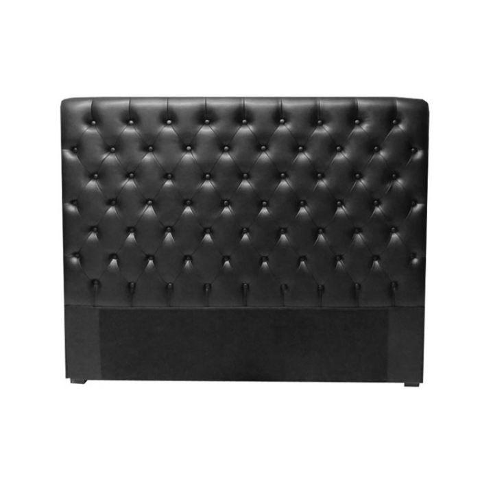 t te de lit capitonn 180 cm pu noir terra achat vente t te de lit cdiscount. Black Bedroom Furniture Sets. Home Design Ideas