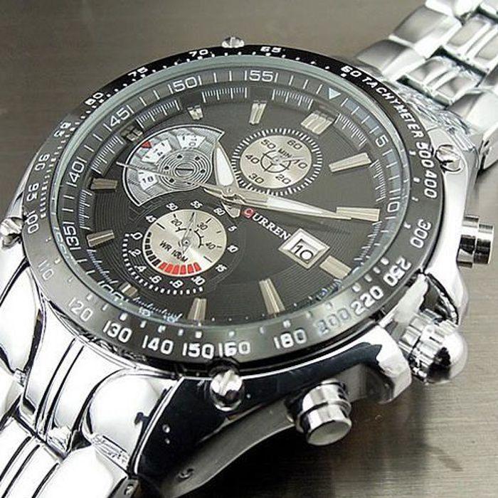 marque c l bre curren montre quartz montres pour homme bande d 39 acier pleine atuo affichage de la. Black Bedroom Furniture Sets. Home Design Ideas
