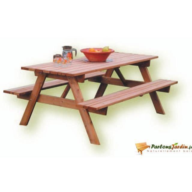 table de pique nique en bois foresti re 1 8m achat. Black Bedroom Furniture Sets. Home Design Ideas