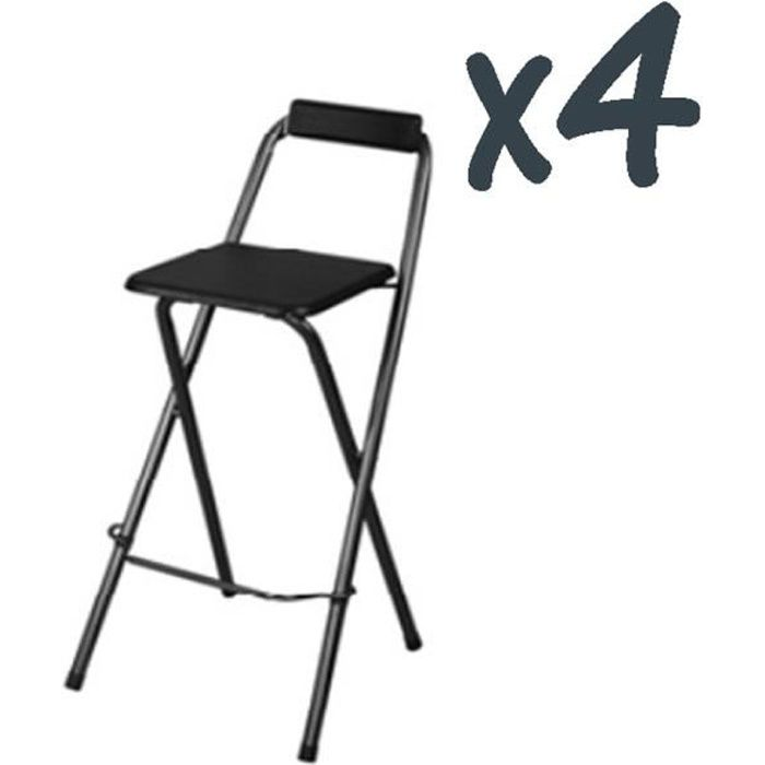 lot de 4 chaises de bar louna noir structure en m tal assise en panneaux de fibres de bois. Black Bedroom Furniture Sets. Home Design Ideas
