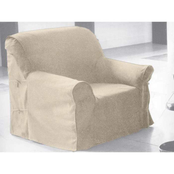 Housse de fauteuil en coton panama cru achat vente for Housse de fauteuil