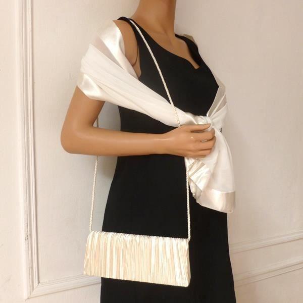 echarpe foulard ensemble coordonn tole et pochette ivoire - Etole Mariage Pas Cher