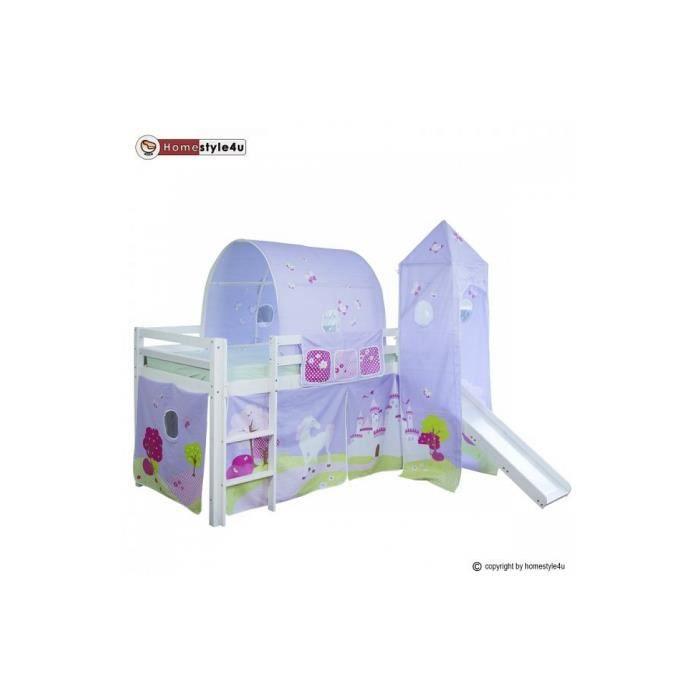 Lit simple blanc 90x200 en hauteur avec echelle et rideau tunnel tour chateau de princesse et - Lit chateau de princesse avec toboggan ...