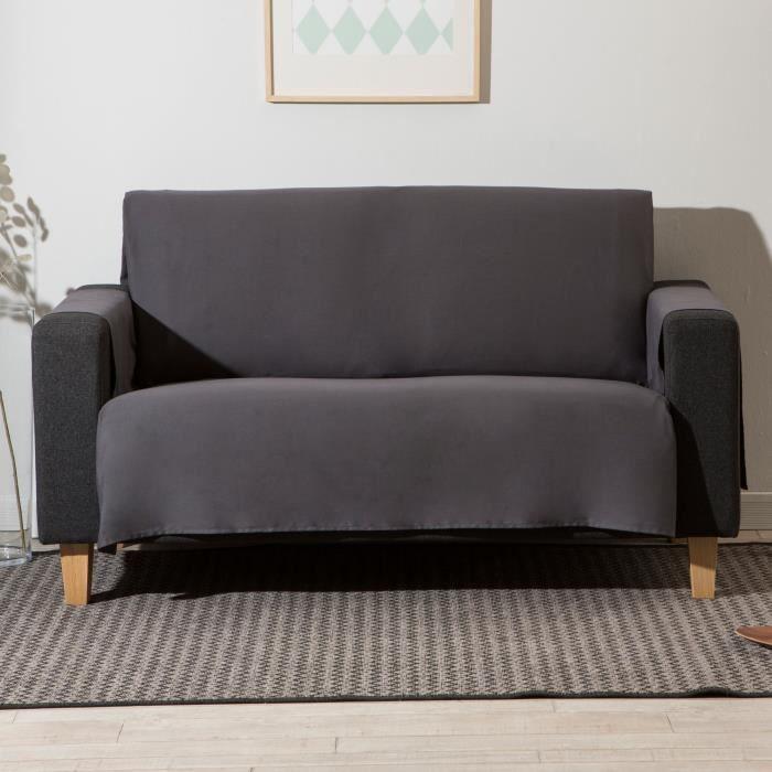 prot ge canap 3 places uni forme croix bachette 100 coton suzon anthracite achat vente. Black Bedroom Furniture Sets. Home Design Ideas