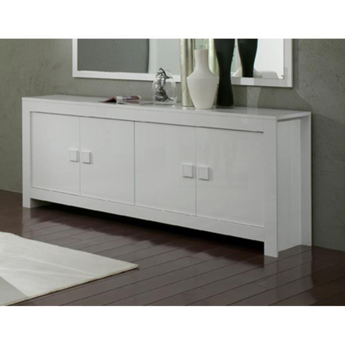bahut 4 portes miroir l180cm pisa blanc achat vente. Black Bedroom Furniture Sets. Home Design Ideas
