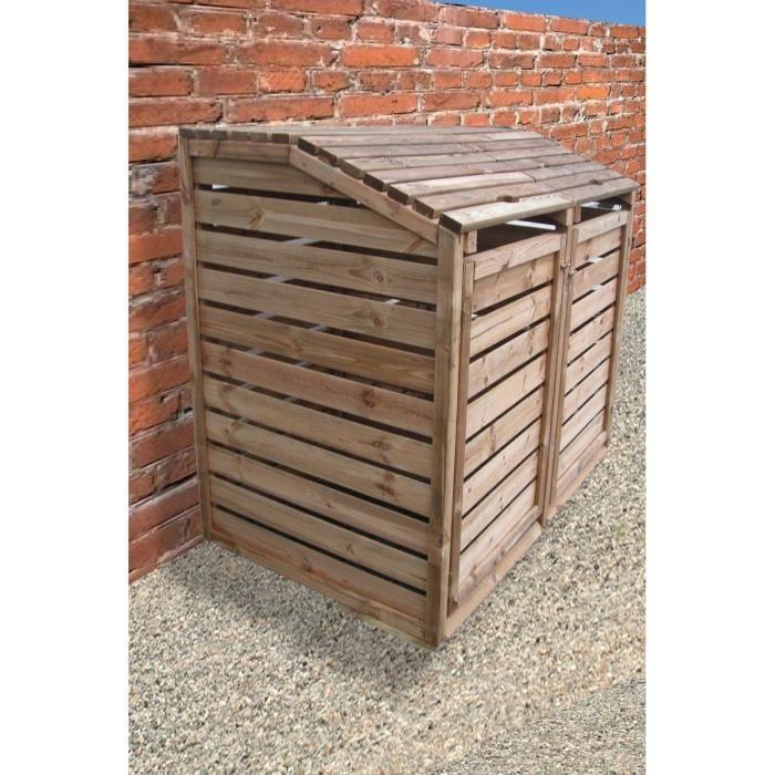 cache poubelle en bois autoclav double 150x90x120cm achat vente cache conteneur cache. Black Bedroom Furniture Sets. Home Design Ideas