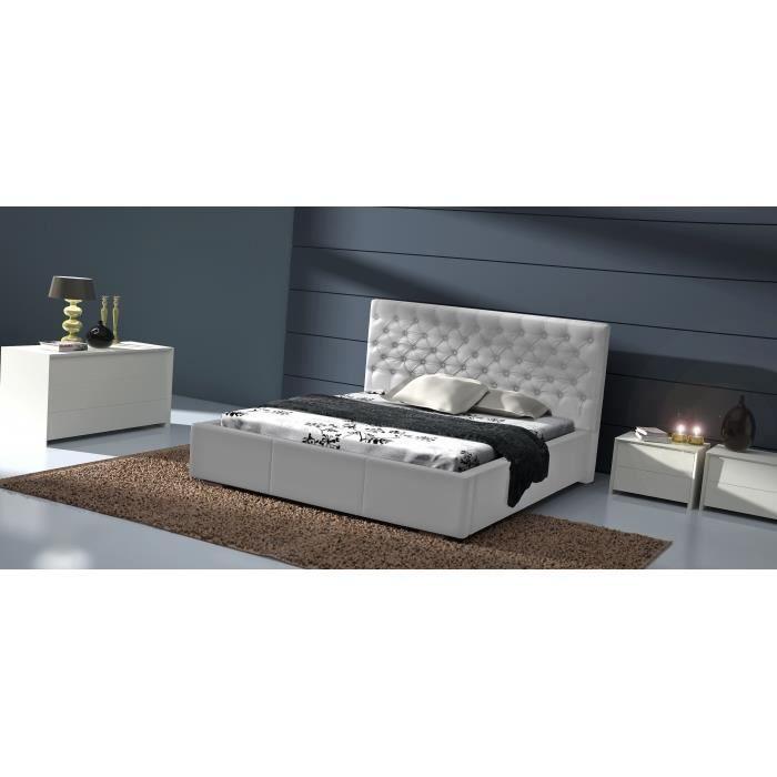 lit capitonn cuir pu astor 140 cm achat vente structure de lit lit capitonn cuir pu astor. Black Bedroom Furniture Sets. Home Design Ideas