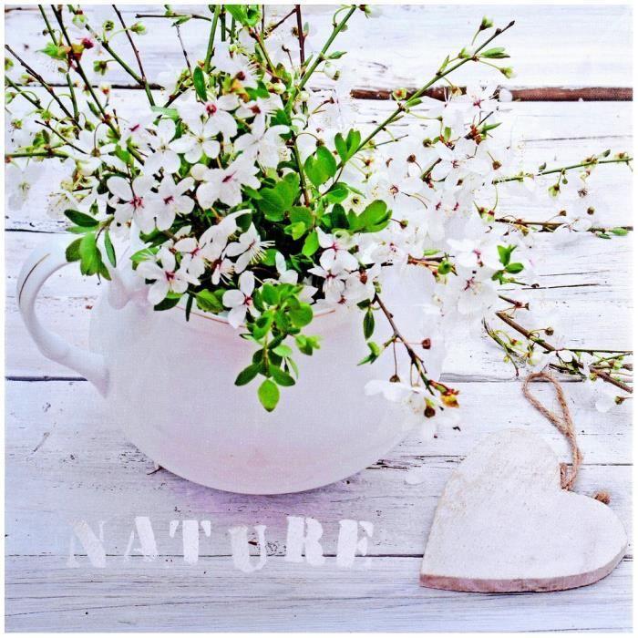 Tableau Toile Cadre Déco Zen Fleur Coeur Inscription Nature Achat