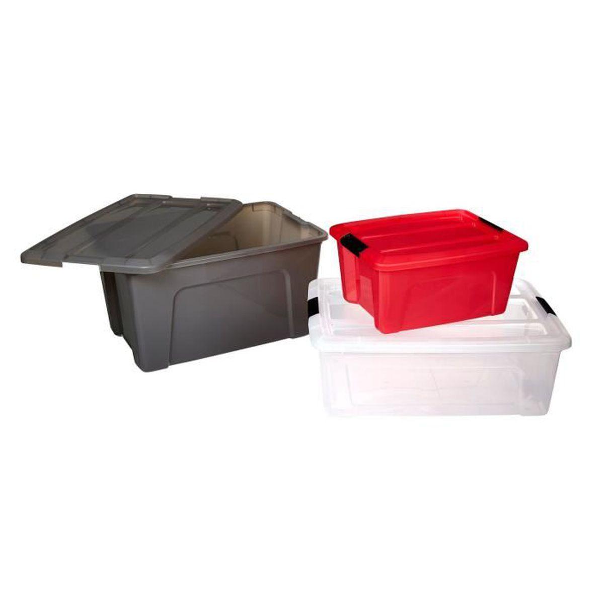new top boite transparente en plastique avec couvercle 15l achat vente boite de rangement. Black Bedroom Furniture Sets. Home Design Ideas