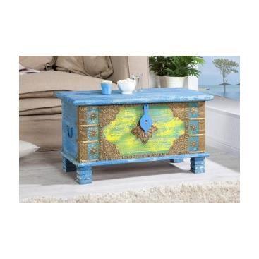 table basse indienne mina bleu clair achat vente. Black Bedroom Furniture Sets. Home Design Ideas