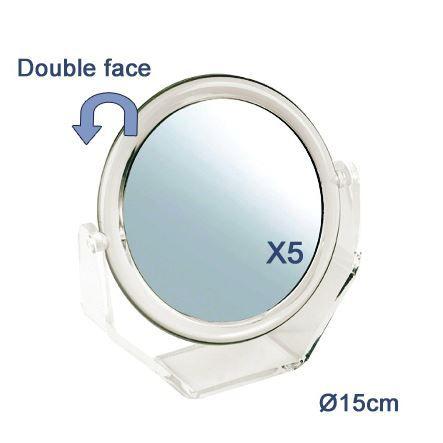Miroir double face avec socle pm achat vente miroir for Miroir double face