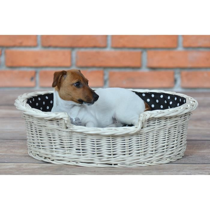 corbeille panier en osier blanc doubl e avec joli coussin achat vente corbeille coussin. Black Bedroom Furniture Sets. Home Design Ideas