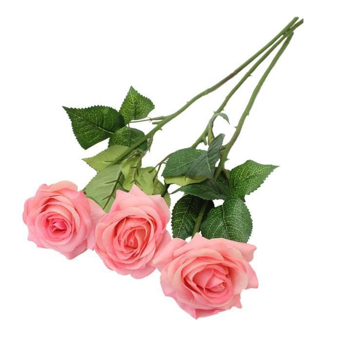 3x fleur artificielle rose tissu plante pour d coration for Fleurs artificielles tissu