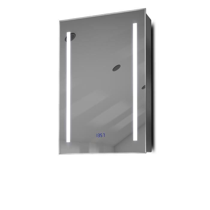 armoire de toilette anti bu e avec capteur prise rasoir et horloge k384w gris taille h 600mm. Black Bedroom Furniture Sets. Home Design Ideas