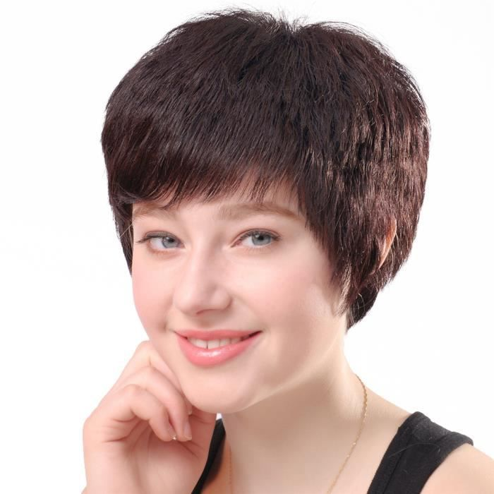 perruque courte femme cheveux humain naturel d guisement. Black Bedroom Furniture Sets. Home Design Ideas