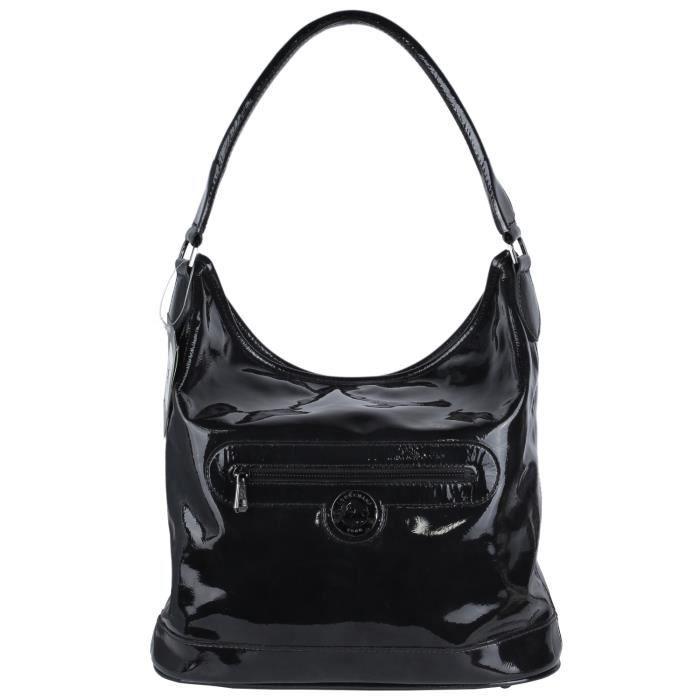Sac Longchamp Roseau Porté épaule : Sac longchamp noir vernis