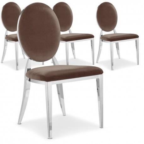 Lot de 4 chaises velours venezia taupe argent achat for Lot 4 chaises taupe
