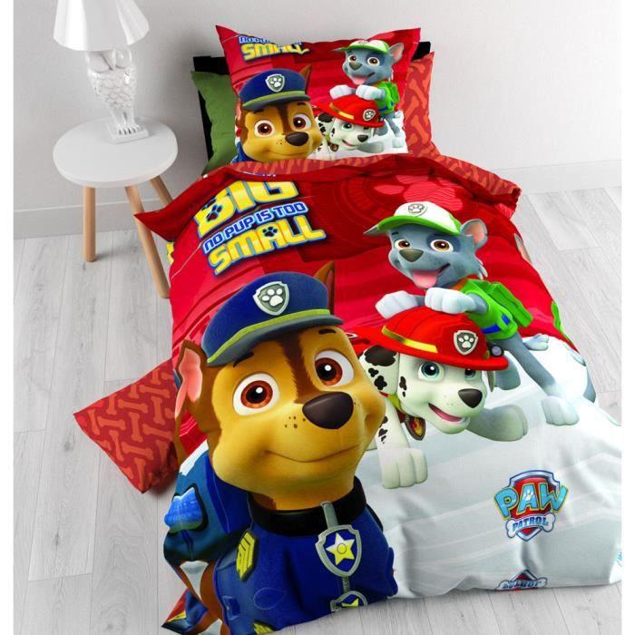 parure de lit housse de couette paw patrol pat patrouille achat vente parure de drap. Black Bedroom Furniture Sets. Home Design Ideas