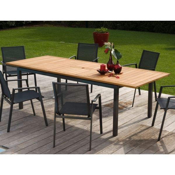 Table aluminium sparta teck grise proloisirs achat for Table jardin grise