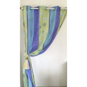 rideau bleu vert achat vente rideau bleu vert pas cher. Black Bedroom Furniture Sets. Home Design Ideas