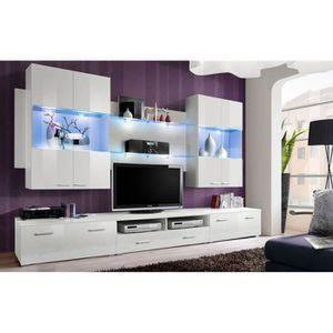 meuble suspendu blanc laque achat vente meuble suspendu blanc laque pas cher cdiscount. Black Bedroom Furniture Sets. Home Design Ideas