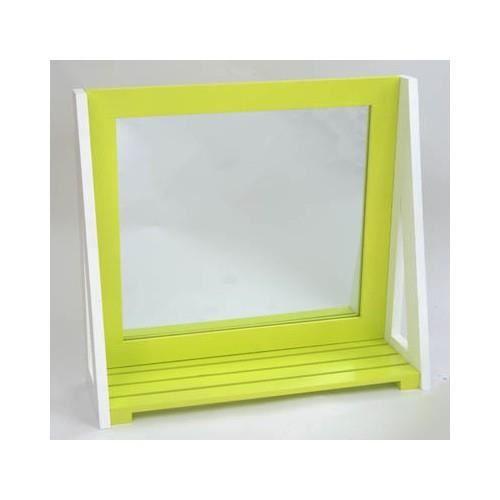 miroir avec tablette vert achat vente miroir salle de bain soldes d t cdiscount. Black Bedroom Furniture Sets. Home Design Ideas