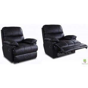 2 fauteuils relax cuir pu noir achat vente fauteuil noir cdiscount. Black Bedroom Furniture Sets. Home Design Ideas
