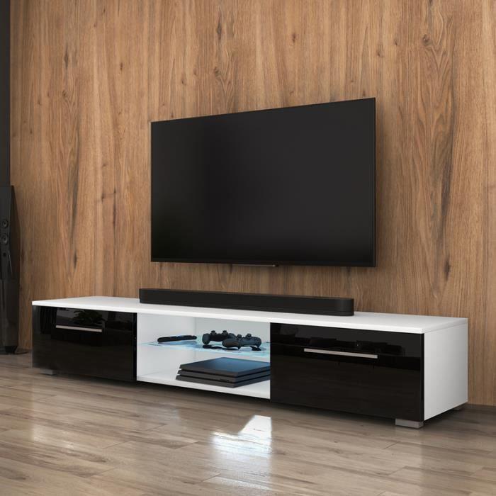 Mueble tv edith blanc mat noir brillant achat for Meuble tv noir brillant