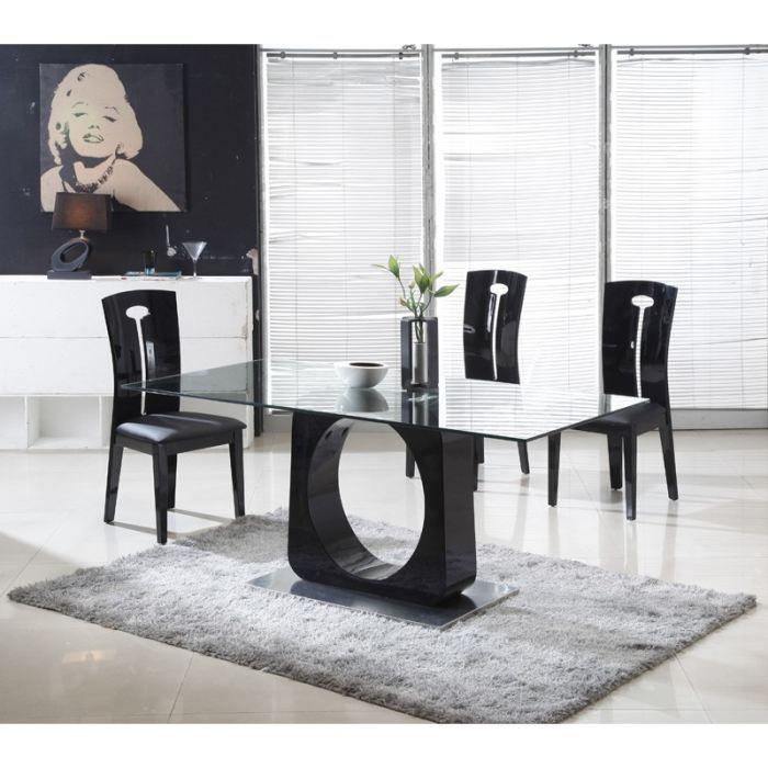 orion table manger bois laqu noir achat vente. Black Bedroom Furniture Sets. Home Design Ideas