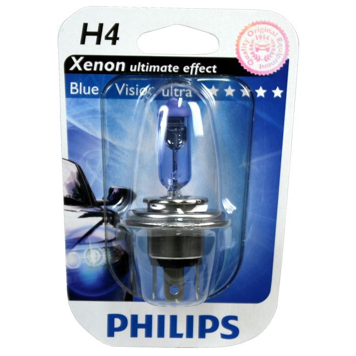 ampoule philips bluevision ultra h4 12v 60 55w achat vente phares optiques philips h4. Black Bedroom Furniture Sets. Home Design Ideas