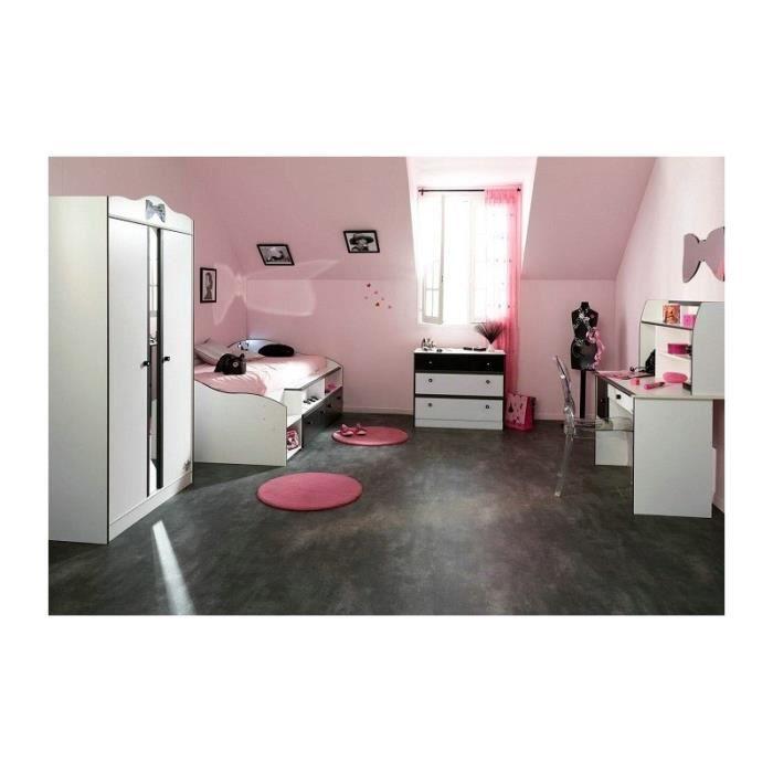 Chambre fille avec armoire 2 portes disco noire et blanche achat vente chambre compl te - Chambre filles blanche ...