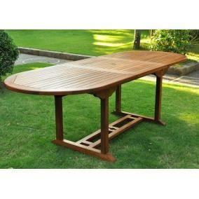 Table ovale en teck massif huil e 10 12p achat vente table de jardin tabl - Longueur de table pour 10 personnes ...