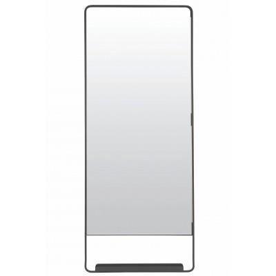 Miroir mural vertical chic avec tablette et bord noir for Deco avec miroir mural