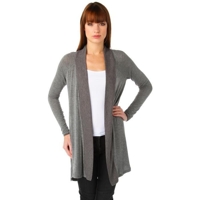 gilet long ouvert gris gris chine clair achat vente gilet cardigan gilet long ouvert. Black Bedroom Furniture Sets. Home Design Ideas