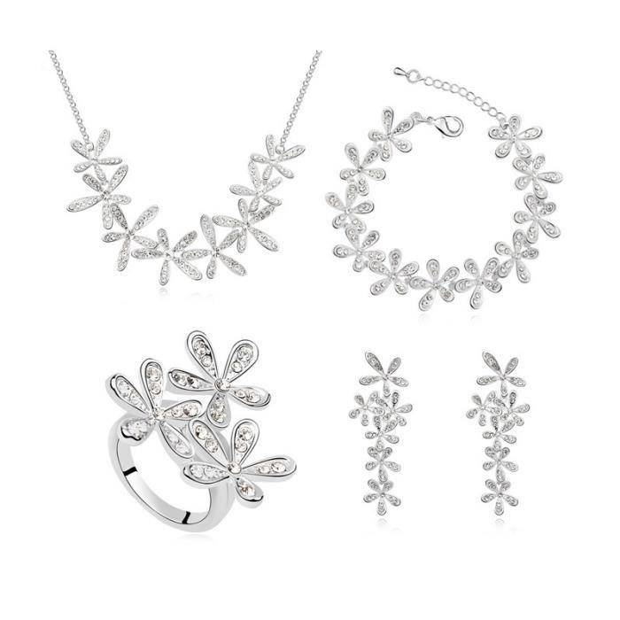 parure bijoux collier boucles d or blanc achat. Black Bedroom Furniture Sets. Home Design Ideas