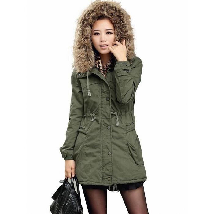 veste parka manteau epais avec zip capuche femme vert. Black Bedroom Furniture Sets. Home Design Ideas