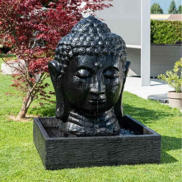Fontaine de jardin t te de bouddha 1 m 30 noir achat vente cascade font - Fontaine de jardin bouddha ...
