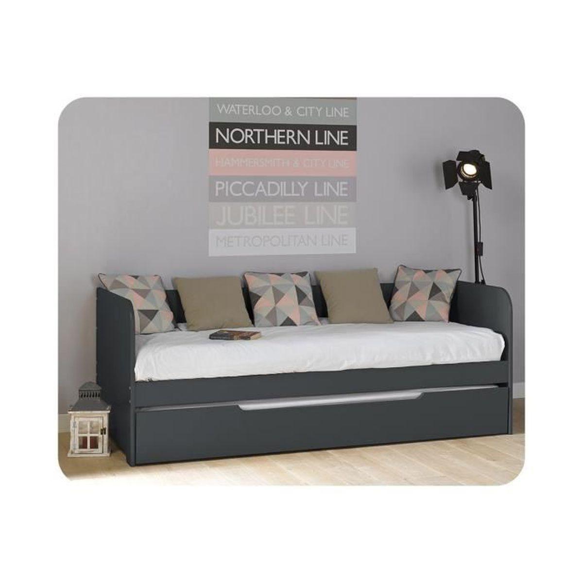 lit gigogne bali 80 x 200 cm gris fonc achat vente lit gigogne lit gigogne bali 80 x 200 c. Black Bedroom Furniture Sets. Home Design Ideas